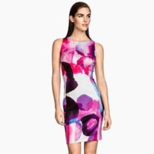 NWT H&M watercolor print midi bodycon dress S